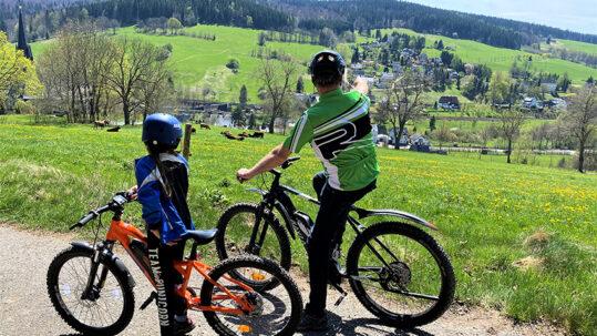 Mountainbiker im Erzgebirge