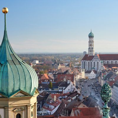 View of Augsburg from the Perlachturm tower