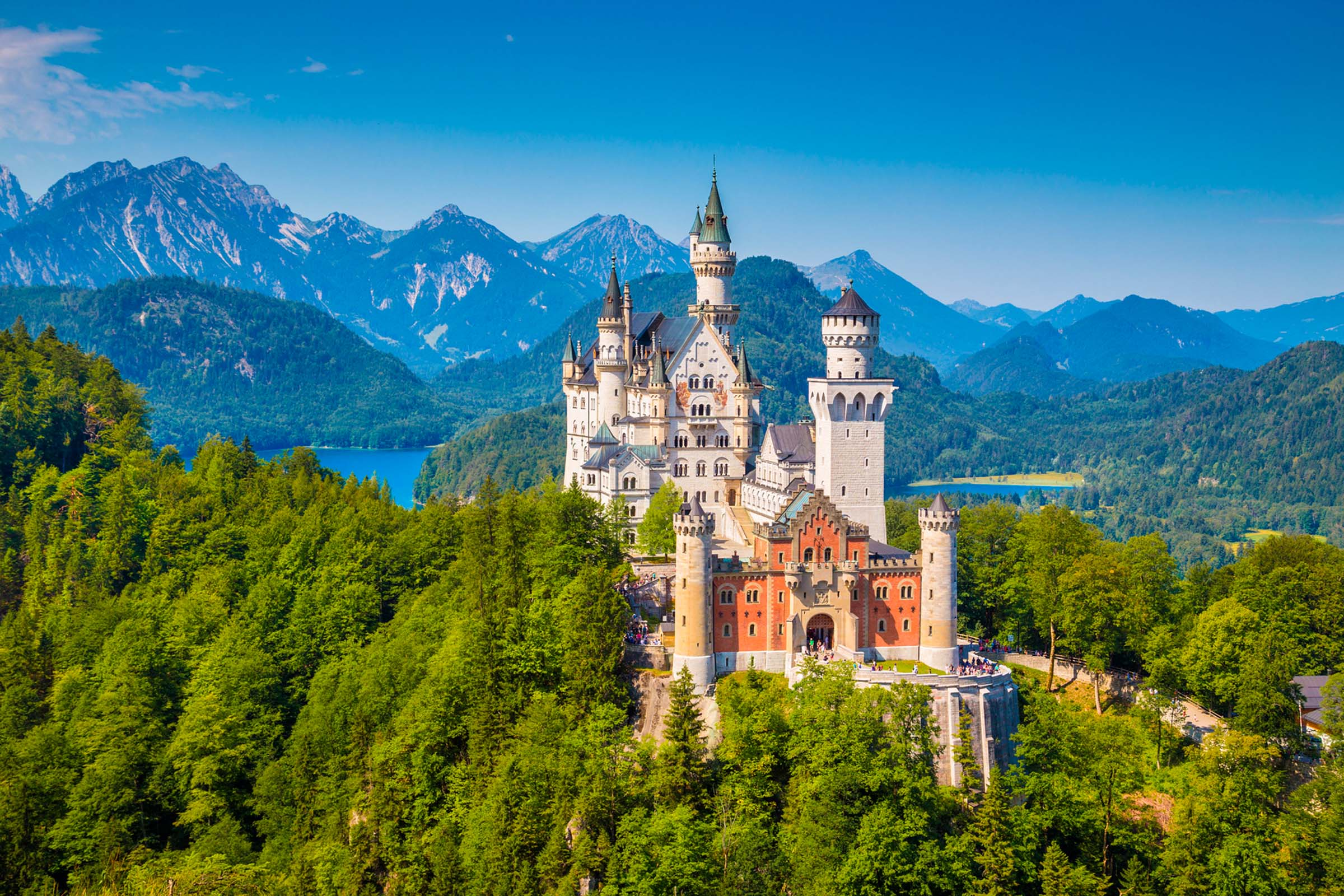 Famous Neuschwanstein Castle with its scenic mountain landscape