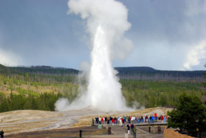 Geysir Old Faithful im Yellowstone Nationalpark in den USA