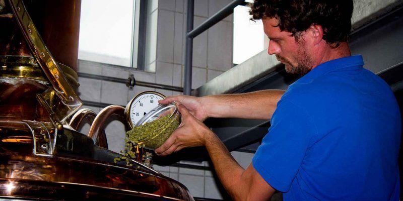 Der Braumeister im Bayerischen Brauereimuseum in Kulmbach gibt Hopfen in den Sudkessel.