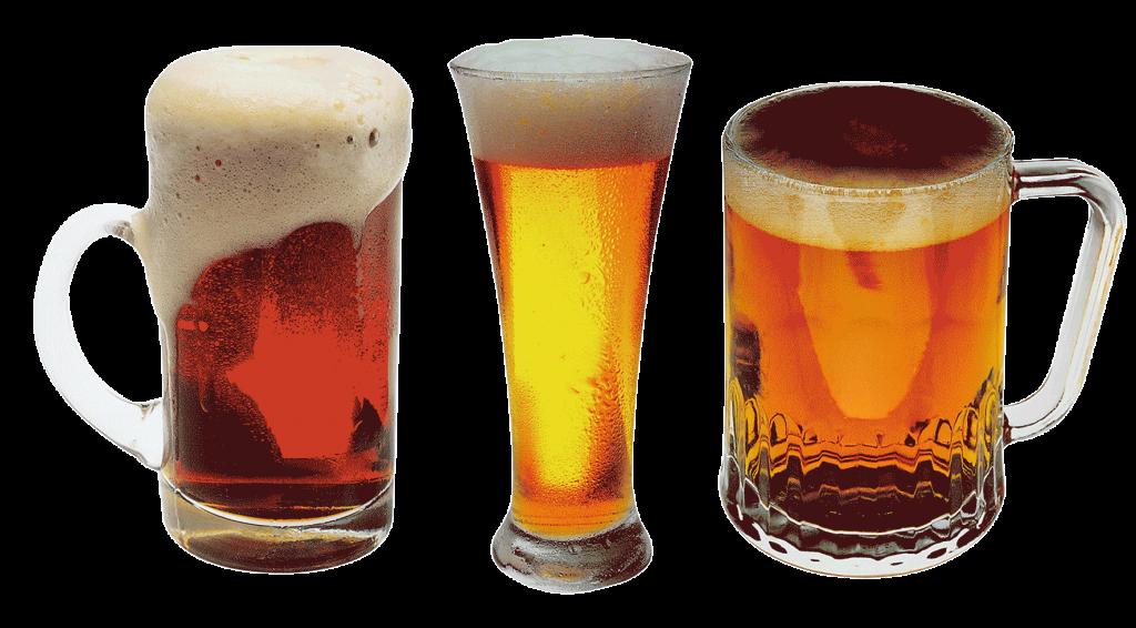 Drei Gläser mit Bieren von unterschiedlicher Farbe.